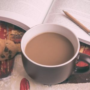 coffee, book, pencil